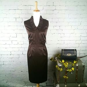 NWT London Times ruffled brown sheath dress